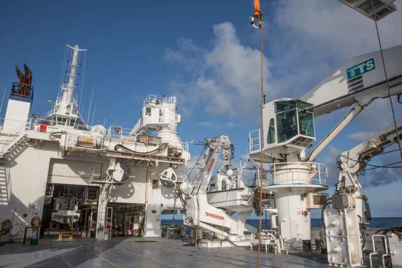 Working deck of the oceanographic ship Le Pourquoi pas ?