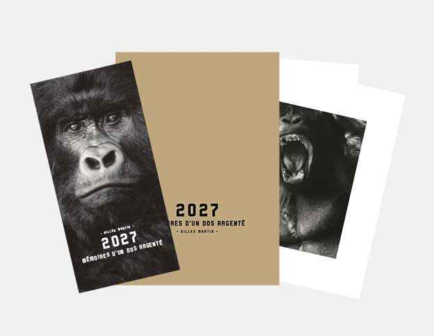 Catalog from the exhibition 2027 - Memoirs of a silverback available online in Gilles Martin's shop